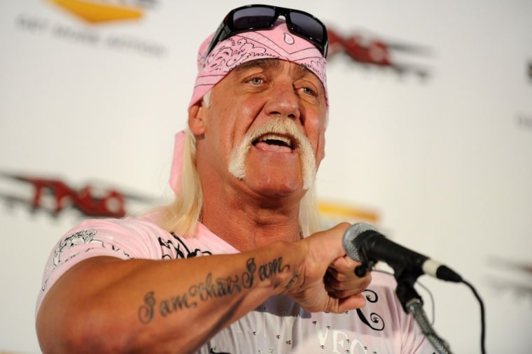 """NEW YORK - OCTOBER 27:  Wrestler Hulk Hogan attends the launch of his book \""""My Life Outside the Ring\"""" at Madison Square Garden on October 27, 2009 in New York City.  (Photo by Bryan Bedder/Getty Images)"""