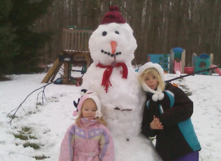 First snowman of the winter for Emily and Anna