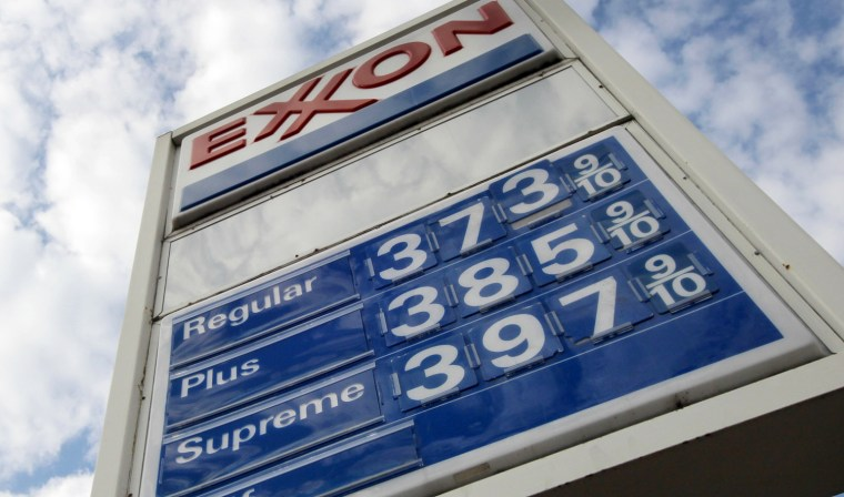 This Feb. 27, 2012 photo, shows gas prices at a Pittsburgh Exxon mini-mart. The price of gasoline rose for the 21st straight day on Tuesday. Drivers are now paying an average of $3.72 a gallon nationwide, about 24 cents more than before the streak began. (AP Photo/Gene J. Puskar)