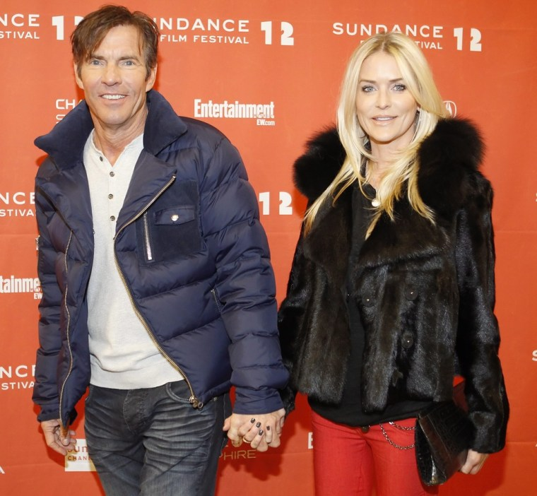 epa03082336 US actor Dennis Quaid, (L) , and his wife Kimberly, (R),  arrives for the premier of the movie 'The Words' at the 2012 Sundance Film Festival in Park City, Utah, USA 27 January 2012. The festival runs from the 19th to the 29th of January in Park City.  EPA/GEORGE FREY