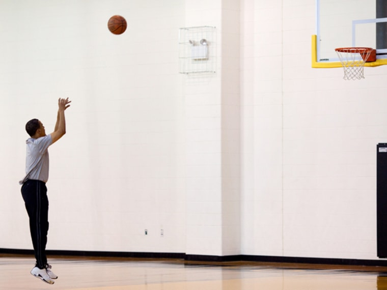 WASHINGTON - MAY 9: In this handout provide by the White House, U.S. President Barack Obama plays basketball at Fort McNair on May 9, 2009 in Washington, DC. Obama is serving as the 44th President of the U.S. and the first African-American to be elected to the office of President in the history of the United States. (Photo by Pete Souza/White House via Getty Images) *** Local Caption *** Barack Obama
