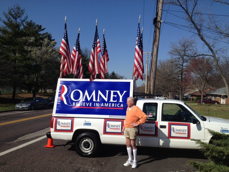 Jim Wilson has racked up thousands of miles on his pickup following Mitt Romney from state to state.