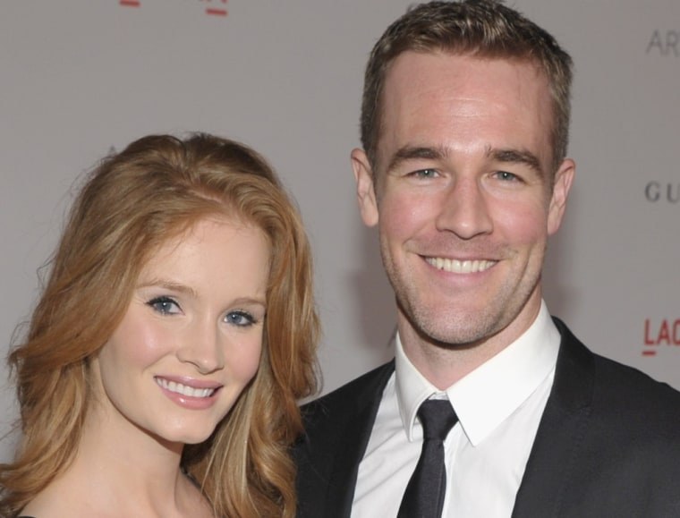 LOS ANGELES, CA - FILE:  Actor James van der Beek (R) and Kimberly Brook attend LACMA Art + Film Gala Honoring Clint Eastwood and John Baldessari Presented By Gucci at Los Angeles County Museum of Art on November 5, 2011 in Los Angeles, California. James Van Der Beek and wife Kimberly welcomed a son, their second child together, on March 13, 2012.  (Photo by John Shearer/Getty Images for LACMA)
