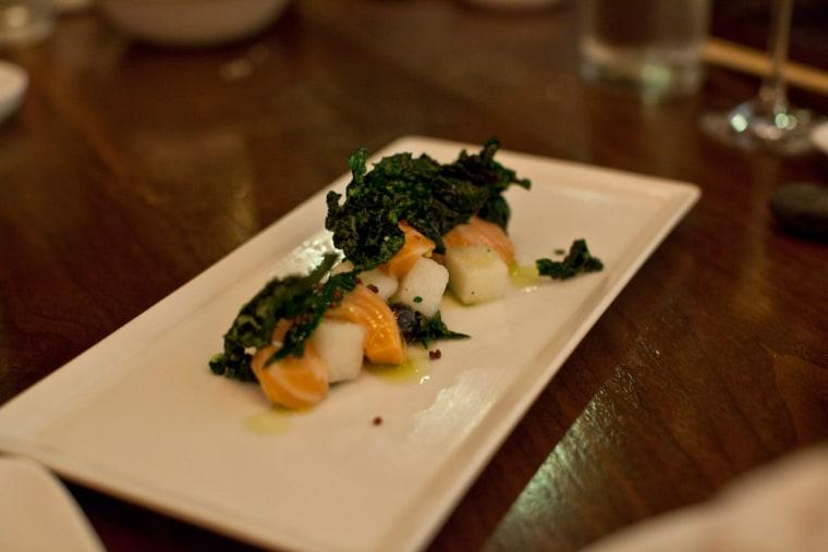 The yokai berry, featuring Atlantic salmon, kale and Asian pear in a yuzu sauce.