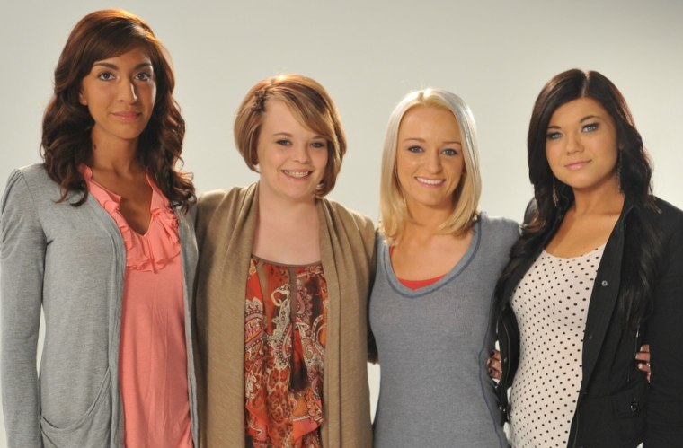 """The cast of MTV's \""""Teen Mom\"""" from left, Farrah Abraham, Catelynn Lowell, Maci Bookout and Amber Portwood."""
