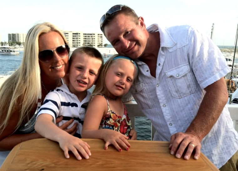 Happy times in the sun: Stephanie Decker with her son Dominic, daughter Reese, and husband Joe.