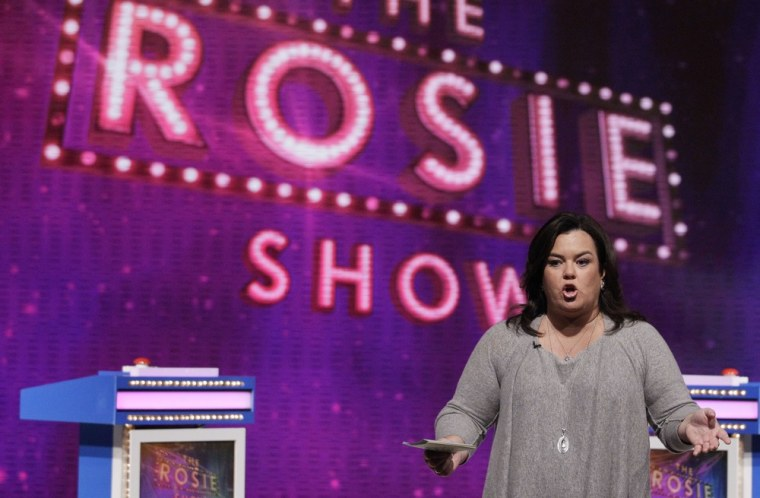"""Rosie O'Donnell talks to the audience during a taping of her show in Chicago, Thursday, Oct. 6, 2011. \""""The Rosie Show\"""" premieres Monday, Oct. 10 on the Oprah Winfrey Network (OWN) and will be taped at the former home of \""""The Oprah Winfrey Show.\"""" (AP Photo/Nam Y. Huh)"""