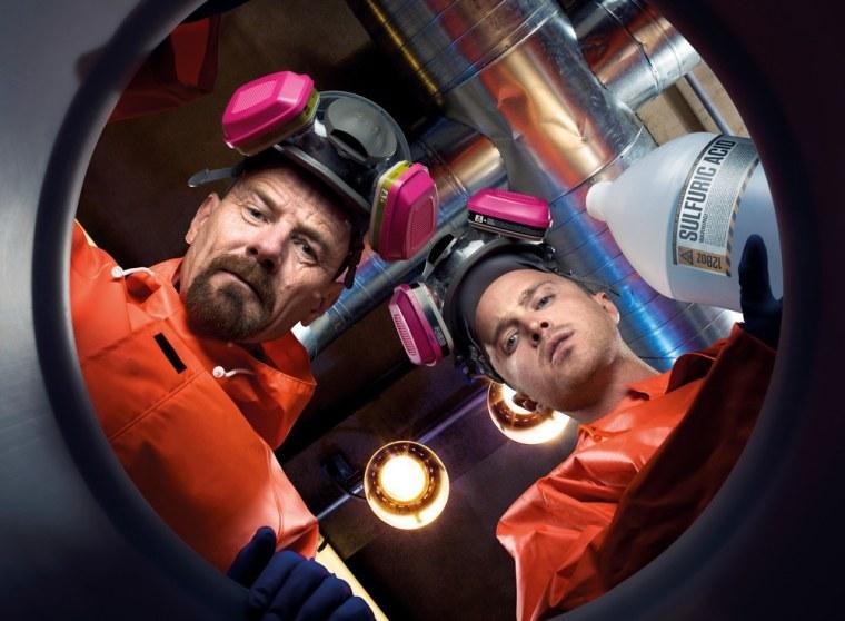 "Bryan Cranston as Walter White and Aaron Paul as Jesse Pinkman on AMC's \""Breaking Bad.\"""