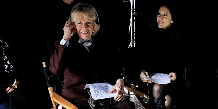 Britain's Camilla Duchess of Cornwall, left, and Danish Crown Princess Mary. right, visit the set of the Danish TV drama