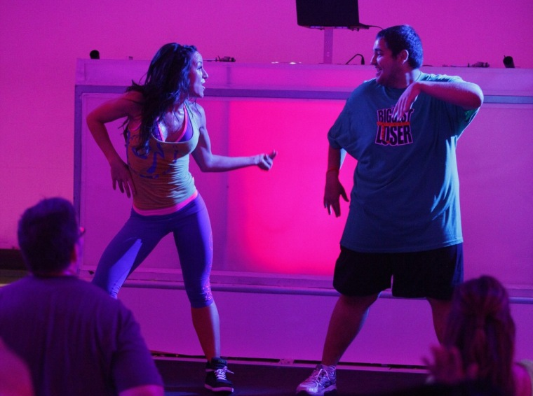 """Jeremy Britt shows off his Zumba moves on \""""Biggest Loser.\"""""""