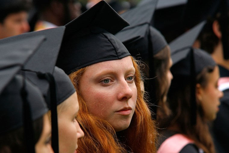 POUGHKEEPSIE, NY - MAY 23:  Students attend the Vassar College 2010 commencement at Vassar College on May 23, 2010 in Poughkeepsie, New York.  (Photo by Andy Kropa/Getty Images)