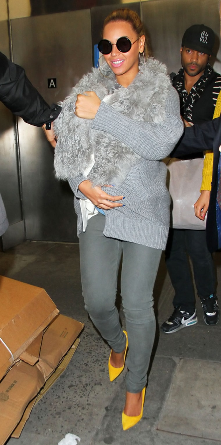Beyonce Knowles carries baby Blue Ivy out of her office building in NYC. <P> Pictured: Beyonce and Blue Ivy Carter <P> <B>Ref: SPL376121 270312 </B><BR/> Picture by: Jackson Lee / Splash News<BR/> </P><P> <B>Splash News and Pictures</B><BR/> Los Angeles: 310-821-2666<BR/> New York: 212-619-2666<BR/> London: 870-934-2666<BR/> photodesk@splashnews.com<BR/> </P>