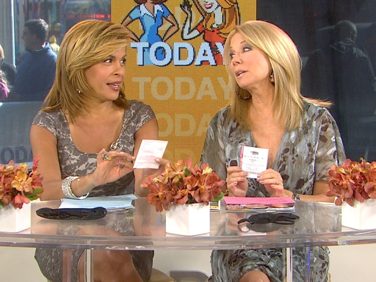 TODAY's Kathie Lee Gifford and Hoda Kotb with their Mega Millions lottery tickets.