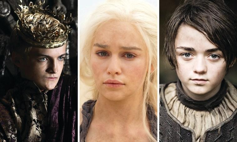 "Jack Gleeson as Joffrey Baratheon, Emilia Clarke as Daenerys Targaryen and Maisie Williams as Arya Stark on \""Game of Thrones.\"""