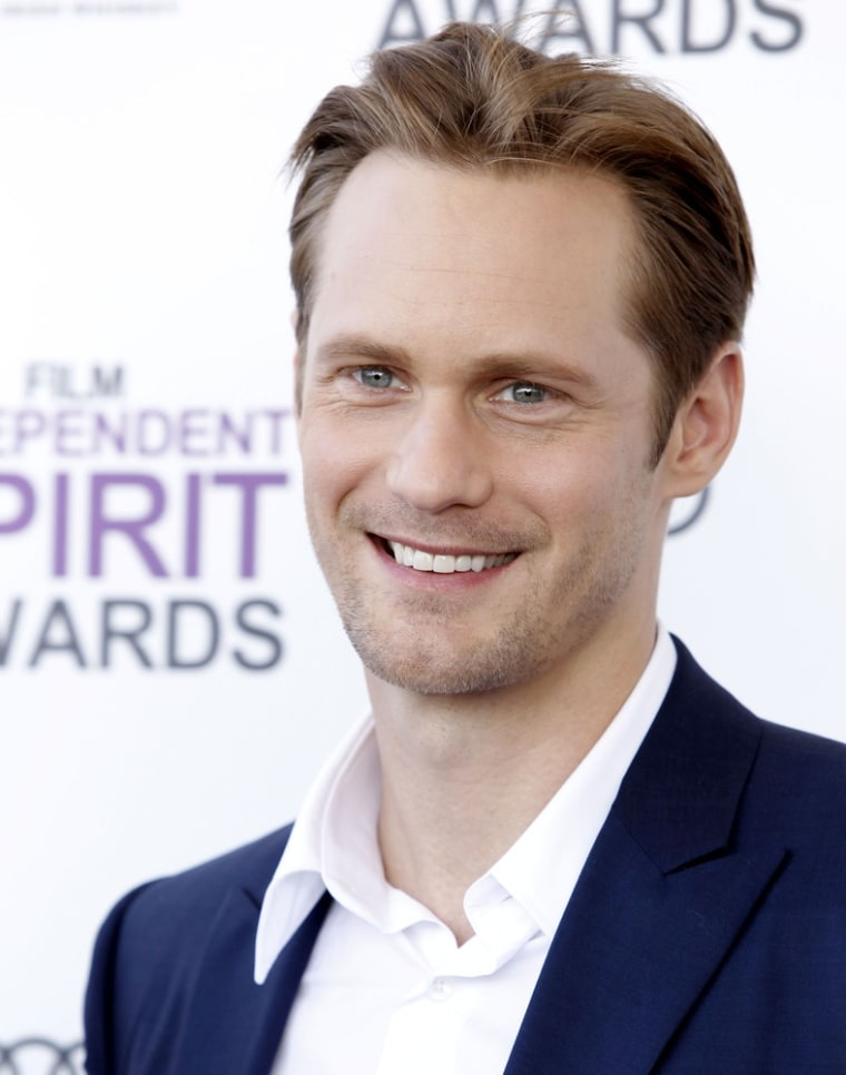"""Alexander Skarsgard believes he's the man for the buzzed-about lead role in a \""""Fifty Shades of Grey\"""" film adaptation."""