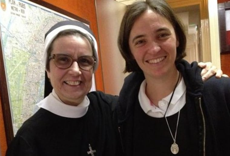 Sister Mary Joseph of the Sisters of the Holy Family of Nazareth, left, and aspiring nun Nicole Ferko.