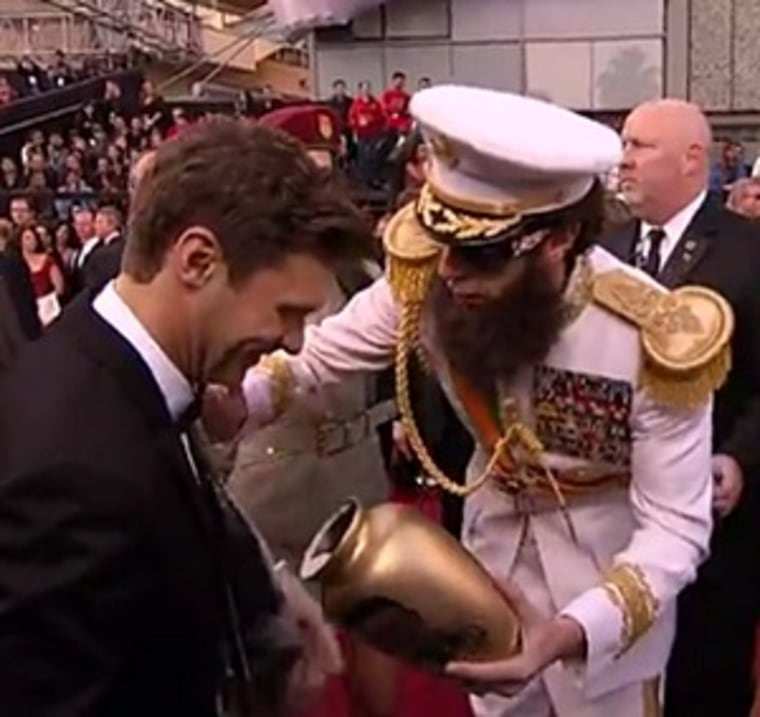 Ryan Seacrest and Sacha Baron Cohen's dust-up at the 2012 Oscars.