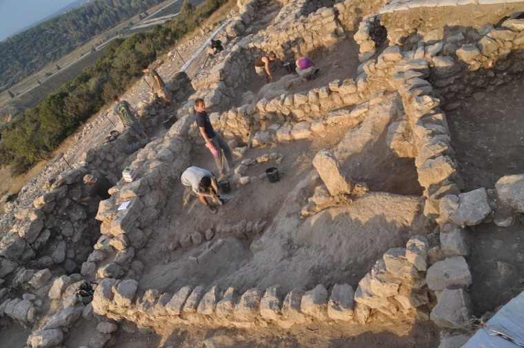 One of the cultic standing stones can be seen in this picture of the Khirbet Qeiyafa site.