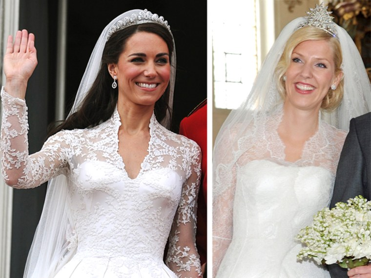 Strikingly similiar? Duchess Kate waving at the wedding of the decade; Princess Felipa of Bavaria, at her less publicized May 12 wedding in Germany.