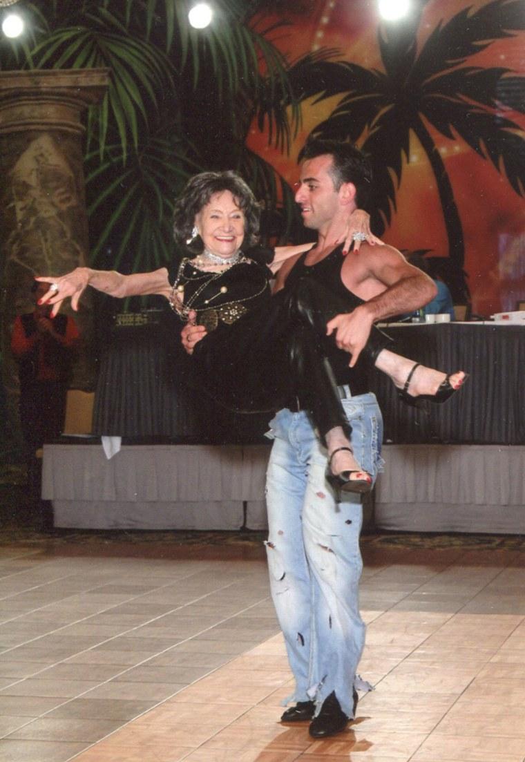 Tao Porchon-Lynch dancing with Hayk Balasanyan, her 24-year-old old teacher.