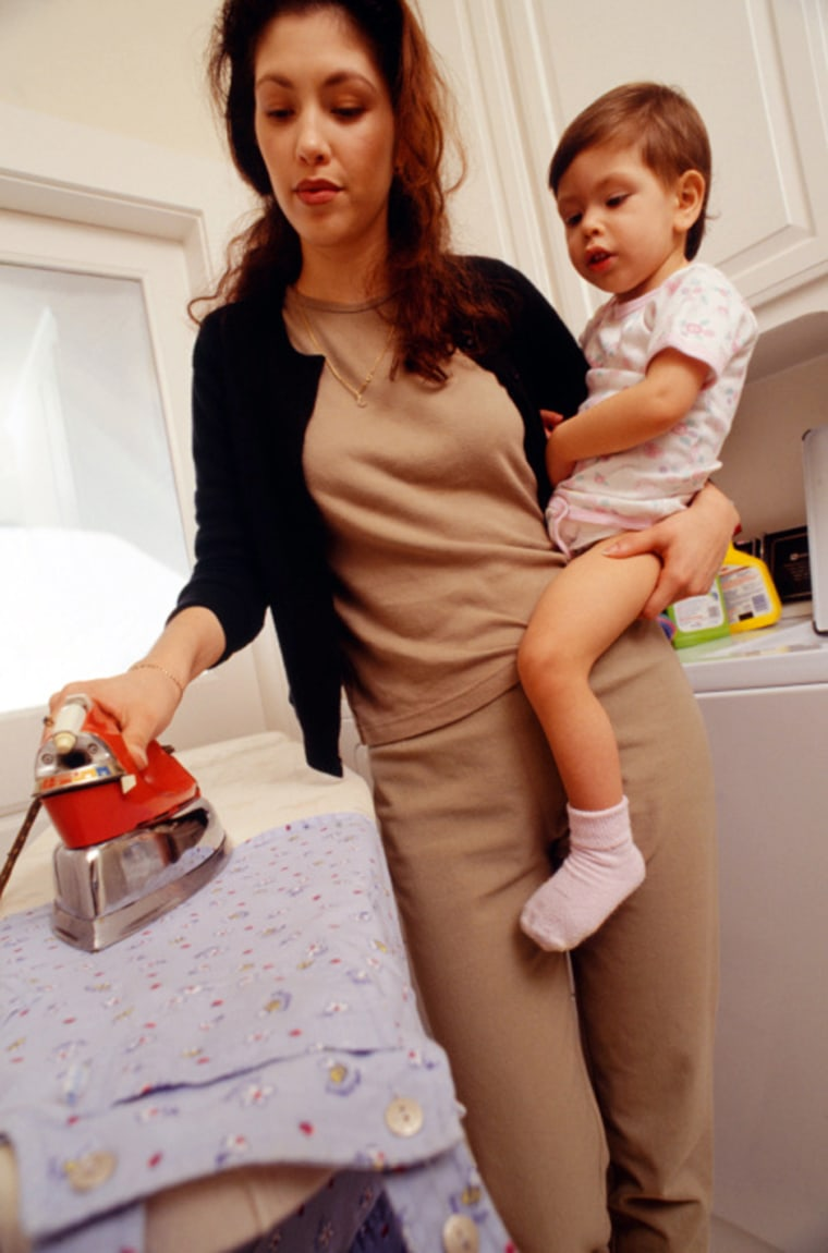 Wait, is she ironing a crib sheet? No wonder you're depressed, lady!