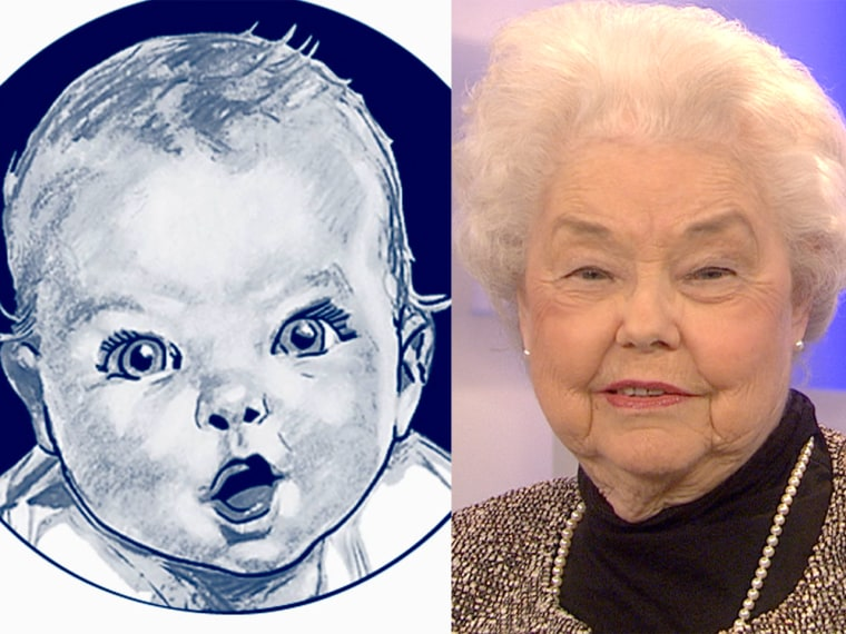 The original Gerber baby, Ann Turner Cook, in a 1927 sketch and today.
