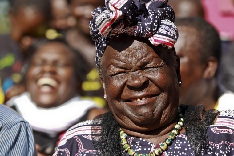 President Obama's step-grandmother Sarah Onyango Obama smiles during a press conference held after Obama's victory was announced in Nyang'oma Kogelo village, where President Barack Obama's late father Barack Obama Sr. was raised and Sarah lives, on November 7, 2012.