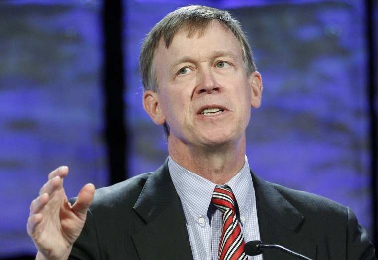 """Don't break out the Cheetos or gold fish too quickly,"" Colorado Gov. John Hickenlooper (D) said after the marijuana initiative was passed in the state Tuesday."
