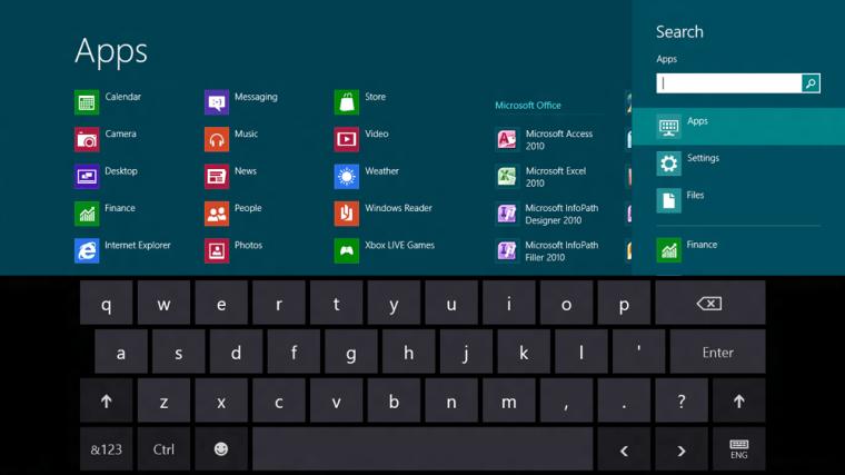 Keyboard on Windows 8 screen