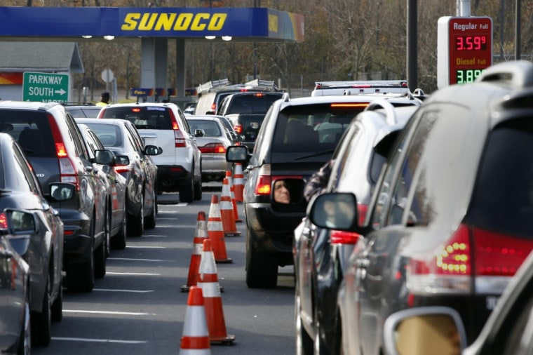 Cars wait in long lines at a Sunoco gas station on the Garden State Parkway in Montvale, New Jersey in this November 1, 2012, file photo. The worst fu...