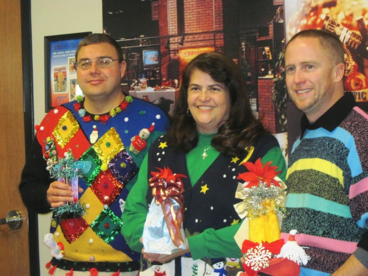 This was our top three winners from our First Annual Company Ugly Christmas Sweater Party/Luncheon.