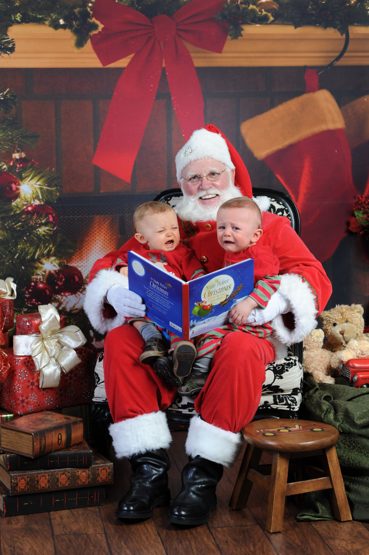 Bode and Brogie went from happy to not-so-happy on Santa's lap.