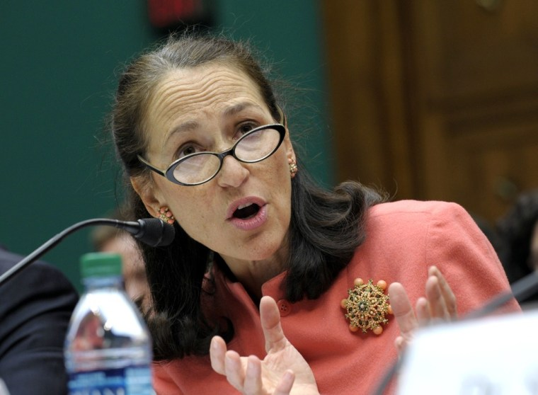 Food and Drug Administration (FDA) Commissioner Dr. Margaret Hamburg testifies Wednesday, Nov. 14, 2012, before the House Energy subcommittee on Oversight and Investigations hearing on the fungal meningitis outbreak. Without better legislation, Hamburg says, more such outbreaks could happen.