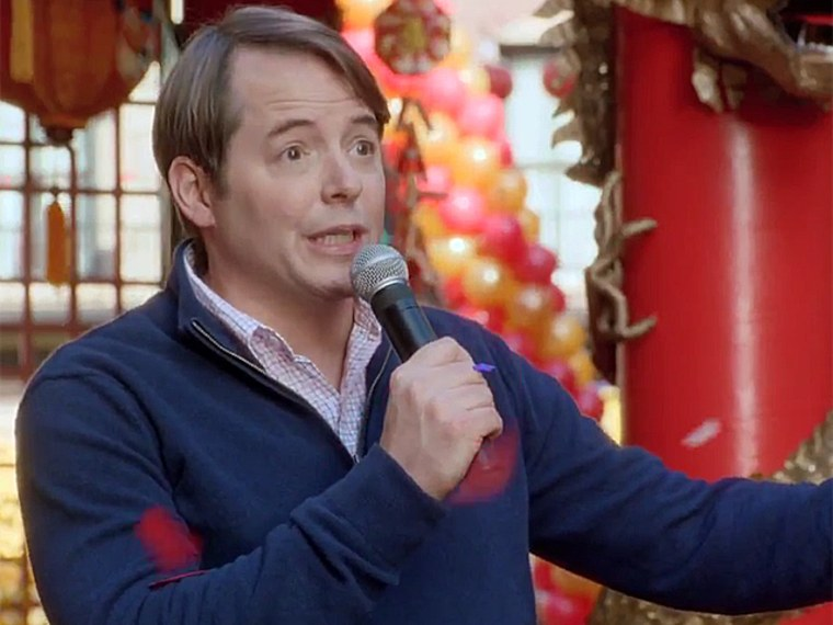 """As he did in \""""Ferris Bueller's Day Off,\"""" Matthew Broderick sings on a float in a parade in the Honda CR-V Super Bowl ad."""