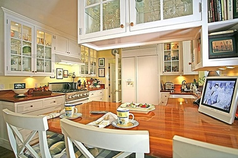 Taylor Swift's kitchen in her Beverly Hills home has butcher block countertops and plenty of cabinet space.