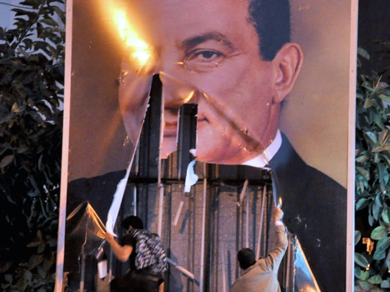 Eighteen days of popular protest culminated in the downfall of Egyptian president Hosni Mubarak on Feb. 11, 2011.