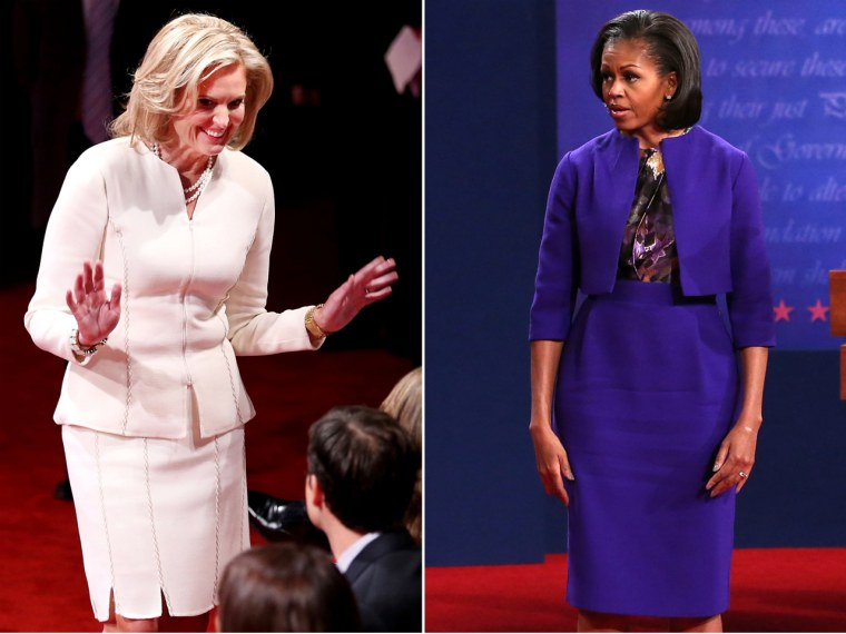 Michelle Obama re-wore a lavender Preen dress to the first presidential debate, while Ann Romney opted for a white two-piece suit.