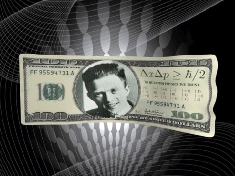 A quantum $100 bill bears a picture of physicist Werner Heisenberg and the motto