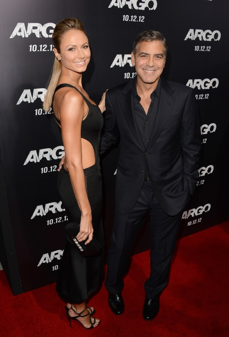 """George Clooney and Stacy Keibler at the premiere of """"Argo"""" in Beverly Hills on Thursday."""