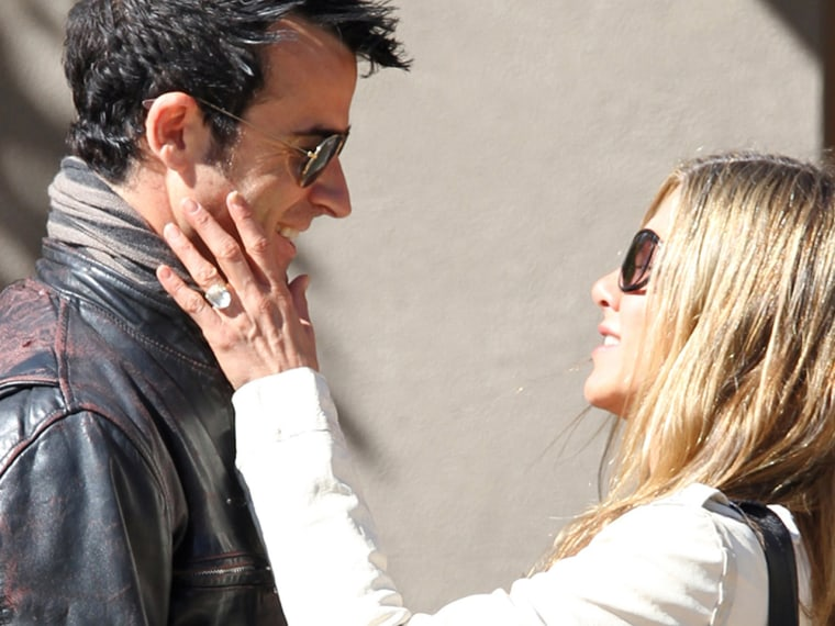 Justin Theroux and Jennifer Aniston in Santa Fe, N.M., on Oct. 6.