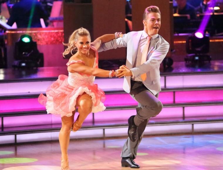 "Shawn Johnson and \""Dancing\"" pro partner Derek Hough."
