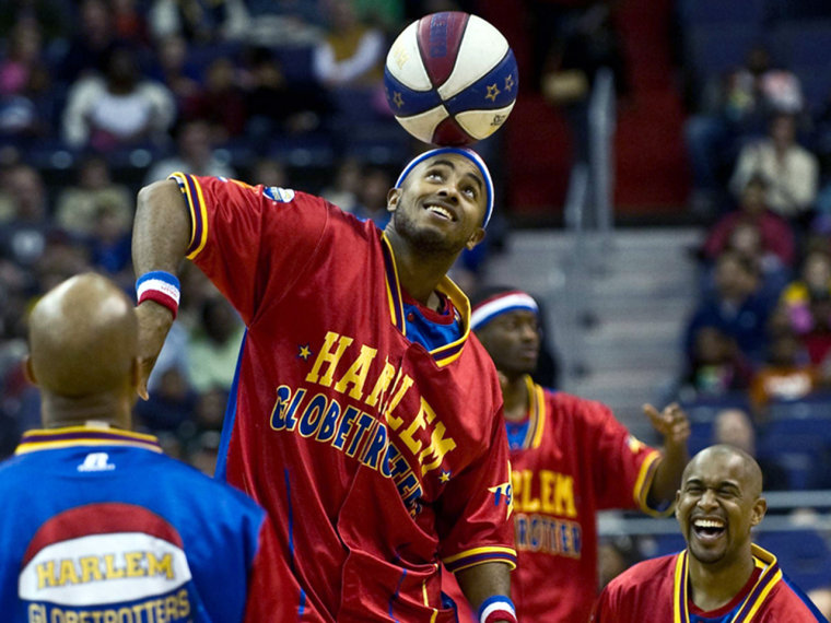 Dizzy Grant of the Harlem Globetrotters is shown here performing on March 5, 2011. The meal that keeps him fueled? Chicken parm from Olive Garden.