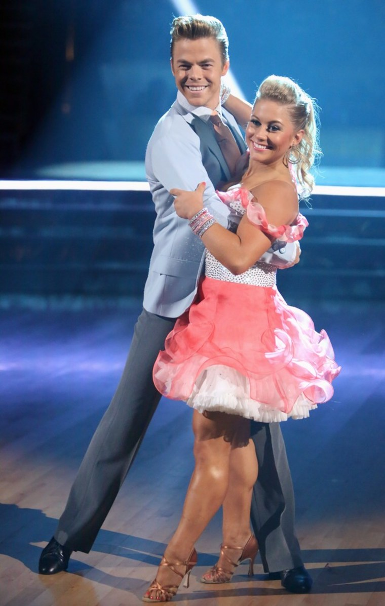 """Shawn Johnson (with """"Dancing"""" partner Derek Hough) says emotions can run high during rehearsals."""