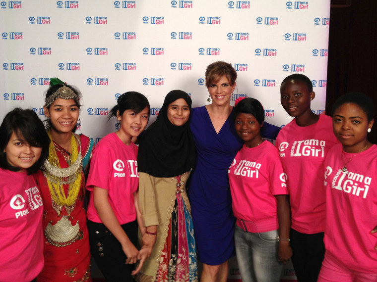 From right to left, Fabiola, from Cameroon, Gifts, from Ghana, Fatmata, from Sierra Leone, Maryam, from Pakistan, Norul, from Indonesia, Urmila, from Nepal, and Marcella, from El Salvador, with Natalie Morales (center).