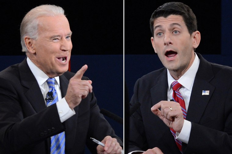 Vice President Joe Biden, left, complained Republicans are holding hostage a middle-class tax cut. Republican contender Paul Ryan pledged to retain middle-class tax preferences.