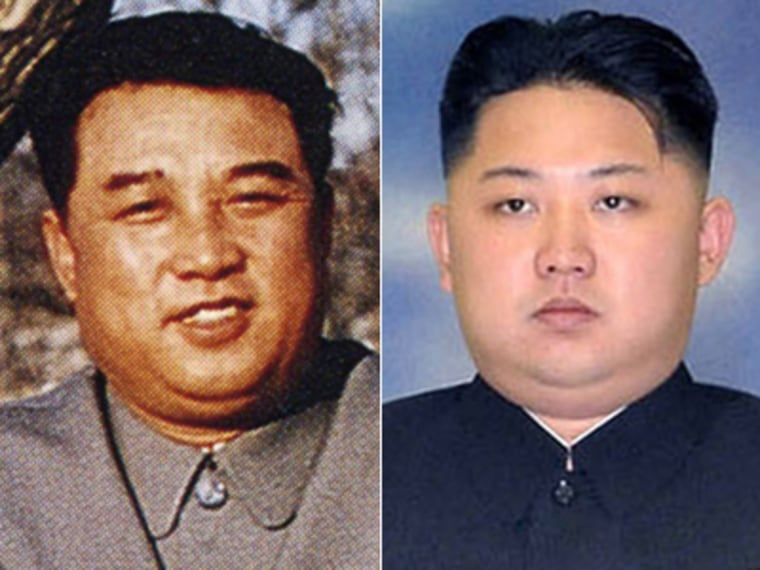 The strong resemblance of Kim Jong Un (right) to his popular grandfather Kim Il Sung (left) may be subliminally creating warm feelings among his followers.