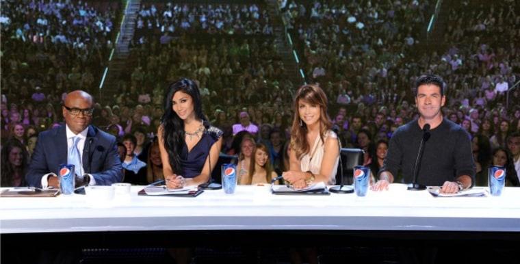 "\""X Factor\"" judges L.A. Reid, Nicole Scherzinger, Paula Abdul and Simon Cowell are so judging your subpar singing skills."