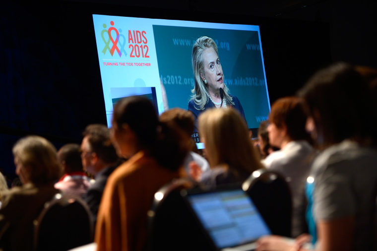 US Secretary of State Hillary Clinton appeared on a large video screen at the 19th International AIDS Conference this week. Many presentations target women, who make up more than a quarter of new HIV infections in the U.S.
