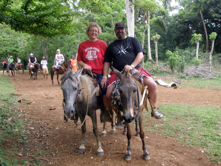 Cindy and Erich Schiketantz horseback riding while on vacation. After Cindy's gastric bypass, she has been leading a healthy lifestyle. As a result, husband Erich has become more active, too.