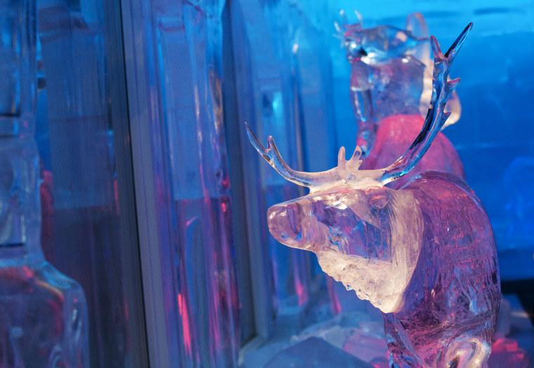 A photo taken on Dec. 14, 2011 shows a reindeer ice sculpture in the Santa Park near Rovaniemi, Finnish Lapland.